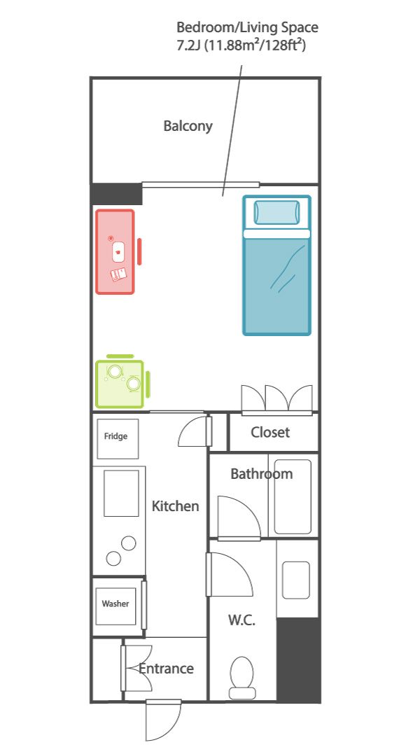 Anese Studio 1 Bedroom Apartment Layout 1k