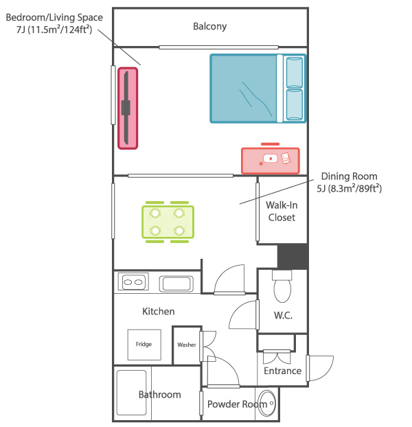 Japanese apartment layout 1DK 1 bedroom