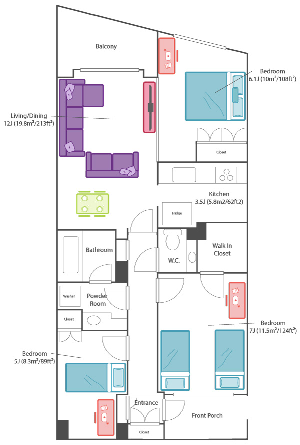 Anese Apartment Layout 3ldk 3 Bedroom