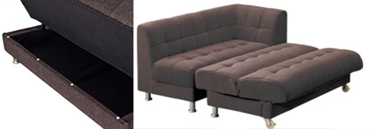 Converts to a sofa bed plus storage